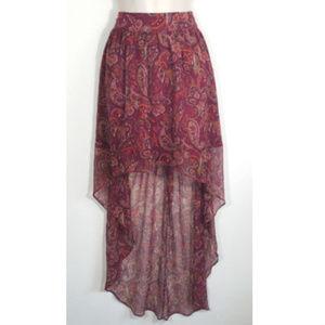 ECOTE Women Skirt High Low Chiffon Boho 1254E1